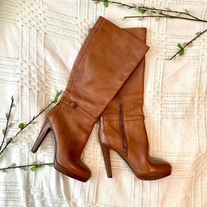 JESSICA SIMPSON CAMEL LEATHER KNEE HIGH BOOTS!!!